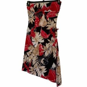 Red Tropical Strapless Mini Dress Size S-M
